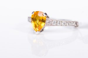 amber diamond platinum ring